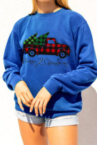 Navy Blue Daily Print Pullovers O Neck Tops