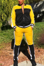Yellow Fashion Casual Patchwork Split Joint Zipper Collar Long Sleeve Regular Sleeve Regular Two Pieces