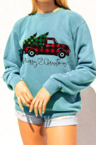 Light Green Daily Print Pullovers O Neck Tops