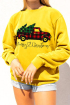 Yellow Daily Print Pullovers O Neck Tops