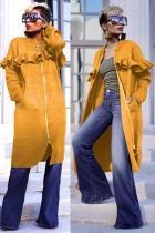 Yellow O Neck Zippered Patchwork Stringy selvedge Solid Polyester Pure Long Sleeve  Coats & Cardigan