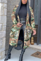 Camouflage Turndown Collar Letter Print Camouflage Patchwork Print Long Sleeve Coats & Cardigan