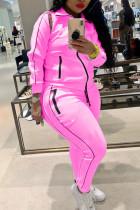 Pink Fashion Casual Solid Basic Turndown Collar Plus Size Set