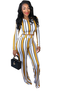 Yellow Elastic Fly High Striped Straight Pants  Two-piece suit