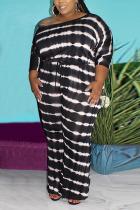 Black Fashion Casual Print Basic O Neck Plus Size Jumpsuits