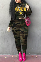 Army Green Casual Print O Neck Long Sleeve Two Pieces