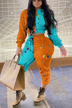Orange Fashion Casual Patchwork Print Split Joint Hooded Collar Long Sleeve Two Pieces
