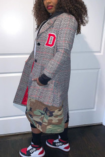 multicolor Fashion Casual Plaid Print Split Joint Turndown Collar Outerwear