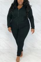 Black Sportswear Solid Hooded Collar Plus Size