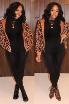 Brown O Neck Leopard Zippered Patchwork Slim fit Sticky Others Long Sleeve