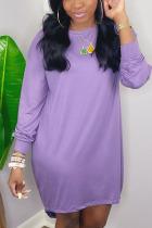 Light Purple Casual Solid O Neck Pencil Skirt Dresses