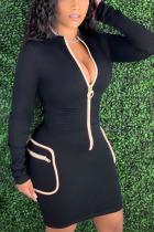 Black Casual Solid Split Joint O Neck Sheath Dresses