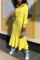 Yellow Fashion Casual Solid Basic Hooded Collar Long Sleeve Dress