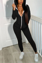 Black Casual Sportswear Solid Basic Hooded Collar Long Sleeve Two Pieces