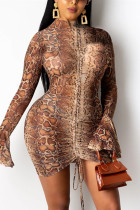 Brown Fashion Sexy Print Draw String Strap Design Half A Turtleneck Printed Dress