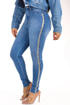 Blue Fashion Casual Solid Split Joint Mid Waist Skinny Jeans