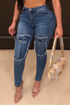 Blue Fashion Casual Patchwork Split Joint High Waist Skinny Jeans