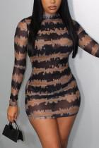 Black Fashion Sexy Print See-through Turtleneck Printed Dress