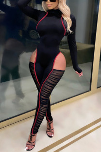 Black Fashion Sexy Patchwork Hollowed Out Split Joint See-through Turtleneck Skinny Jumpsuits
