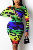 Multi-color Fashion Sexy Print Hollowed Out O Neck Printed Dress