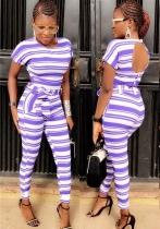 purple Striped Mid Waist bandage Two-piece suit
