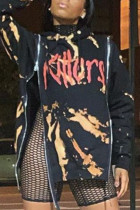 Black Fashion Print Split Joint Hooded Collar Tops