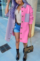 Pink Casual Solid Split Joint Turndown Collar Outerwear