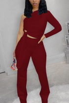 Red Fashion Casual Solid Strap Design Oblique Collar Long Sleeve Single Sleeve Short Two Pieces