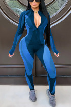 Blue Sexy Solid O Neck Regular Jumpsuits
