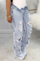 Baby Blue Sexy Solid Ripped High Waist Denim