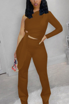 Dark Brown Fashion Casual Solid Strap Design Oblique Collar Long Sleeve Single Sleeve Short Two Pieces