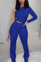 Blue Fashion Casual Solid Strap Design Oblique Collar Long Sleeve Single Sleeve Short Two Pieces