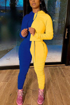 blue and yellow Sexy Solid Split Joint Hooded Collar Long Sleeve Two Pieces