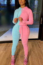 Baby Blue Sexy Solid Split Joint Hooded Collar Long Sleeve Two Pieces