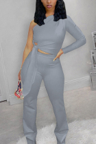 Grey Fashion Casual Solid Strap Design Oblique Collar Long Sleeve Single Sleeve Short Two Pieces