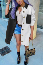 Black and white Casual Solid Split Joint Turndown Collar Outerwear