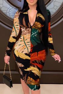 Yellow Fashion Casual Print Basic Zipper Collar Printed Dress