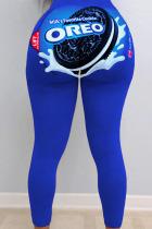 Blue Sexy Print Skinny Bottoms