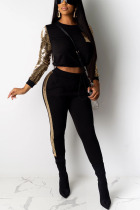 Black Sexy Solid Split Joint O Neck Long Sleeve Two Pieces