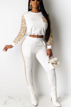 White Sexy Solid Split Joint O Neck Long Sleeve Two Pieces