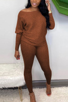 Coffee Sexy Solid Bateau Neck Long Sleeve Two Pieces
