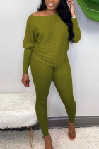 Black Green Sexy Solid Bateau Neck Long Sleeve Two Pieces