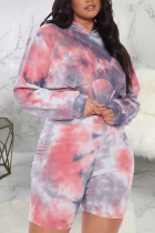 Rose Red Sexy Print Tie-dye Hooded Collar Plus Size