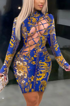 Blue Fashion Sexy Print Ripped Half A Turtleneck Printed Dress