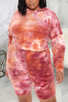 Orange Sexy Print Tie-dye Hooded Collar Plus Size
