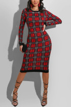 Black and red Fashion Casual Plaid Print Hollowed Out O Neck Printed Dress
