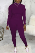 purple Casual Solid O Neck Long Sleeve Two Pieces