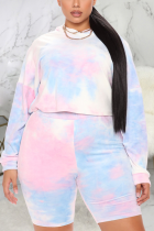 Pink Sexy Print Tie-dye Hooded Collar Plus Size