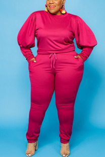 Rose Red Sexy Solid O Neck Plus Size