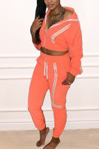 Orange Casual Striped Hooded Collar Long Sleeve Two Pieces